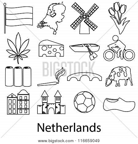 Netherlands Country Theme Outline Symbols Icons Set Eps10