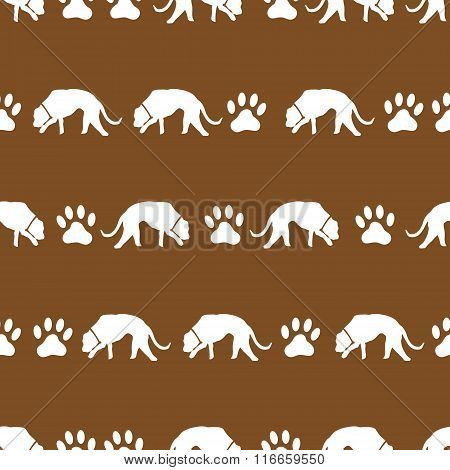 Dog And Footprints Brown Shadows Silhouette In Lines Pattern Eps10