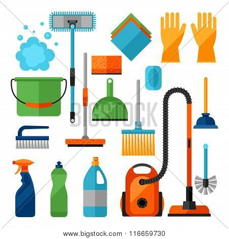 Housekeeping cleaning icons set. Image can be used on banners, web sites, designs