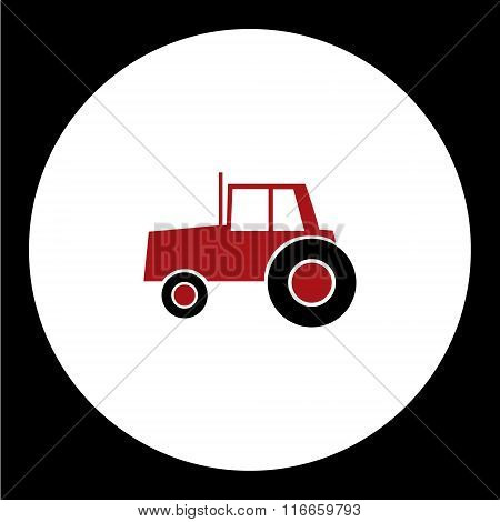 Simple Red Tractor Car Isolated Icon Eps10