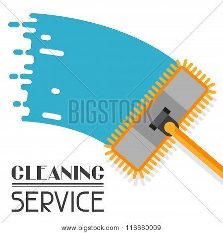 Housekeeping background with mop. Image can be used on advertising booklets, banners, flayers, artic