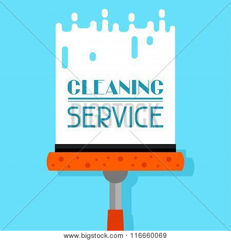 Housekeeping background with window cleaner. Image can be used on advertising booklets, banners, fla