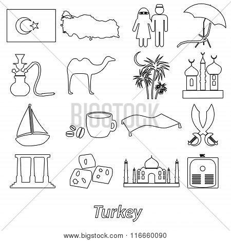 Turkey Country Theme Symbols Outline Icons Set Eps10