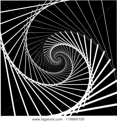 Inward Rotating, Spirally Squares Abstract Monochrome Background