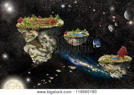 Fantasy Islands In Space
