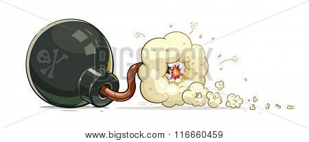 Bomb with burning fuse. Vector illustration. Isolated on transparent background.