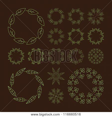 Round Frame with Place for Text. Low Poly Geometric 3D Mountain Landscape. Mountainous Terrain. 3D Wireframe Terrain. Mountain Design. Abstract Background with Dotted Grid. A Glowing Grid.