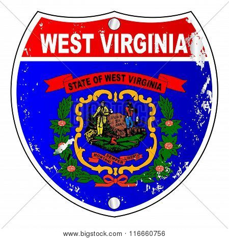 West Virginia Flag Icons As Interstate Sign