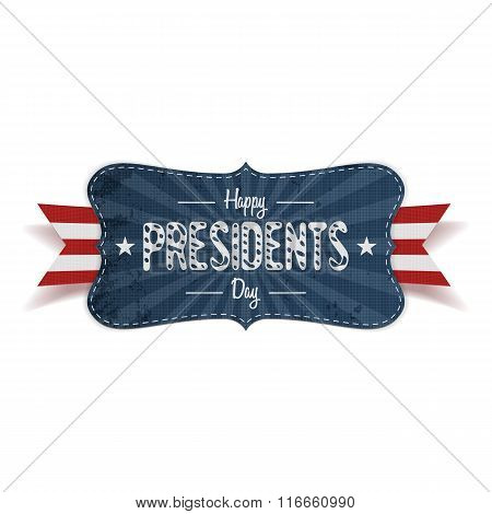 Happy Presidents Day retro striped blue Banner