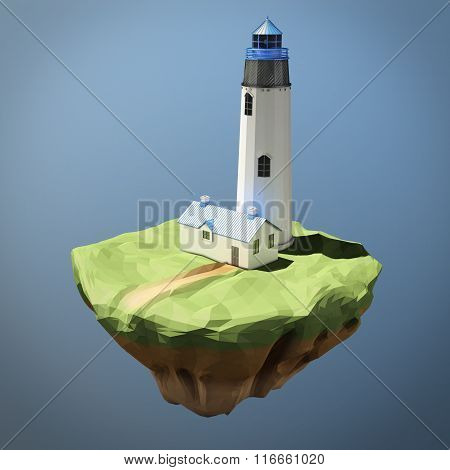 Low poly image of a lighthouse. 3d rendering