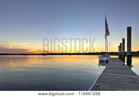 Boats in the harbor in Beaufort, South Carolina at sunset