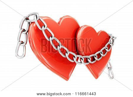 Two hearts and a chain isolated on white background. 3d illustra