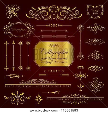 Calligraphic gold design elements and page decoration set 2