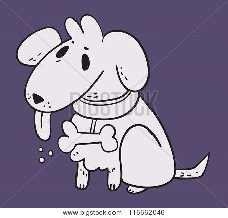 White Dog In Purple Background