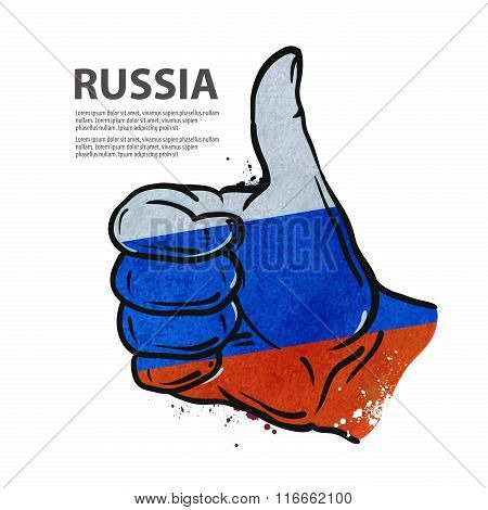 hand gesture thumb up. flag of the Russia. vector illustration