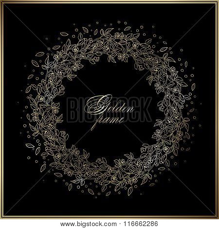 Gold circle luxury hand drawn frame on the black background. Love bohemia concept for wedding invitation, card, ticket, branding, boutique logo, label.