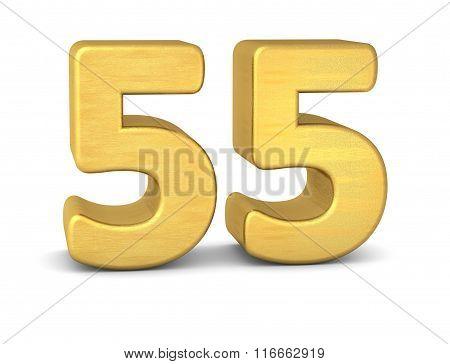 3D Number 55 Gold