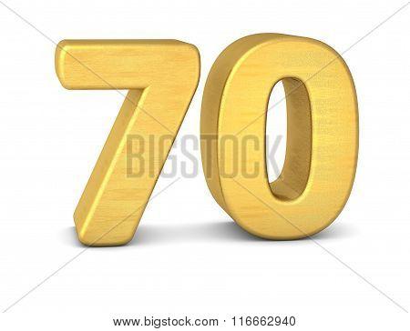 3D Number 70 Gold