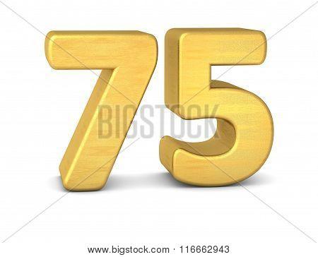 3D Number 75 Gold