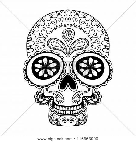 Hand drawn Skull in zentangle style, tribal totem for tattoo, ad