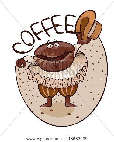 Cheerful coffee bean dances dance