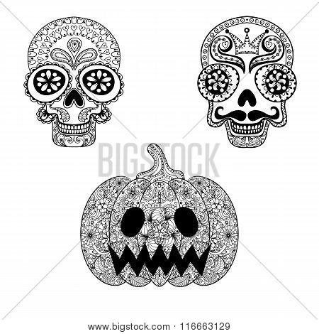 Hand drawn Skulls and Pumpkin in zentangle style, Halloween tote