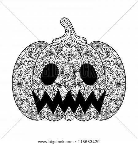 Vector Pumpkin illustration, Hand drawn Helloween vegetable in z
