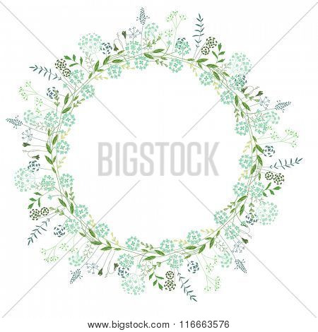 Round frame with contour flowers and herbs on white