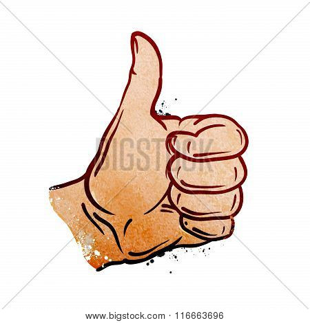 hand gesture thumb up. vector illustration