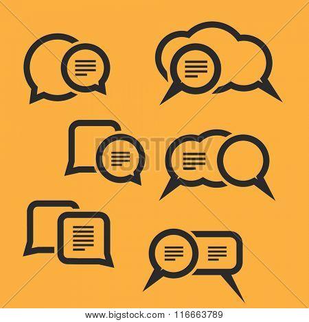 Speech Bubbles Set for Web, Mobile Applications etc. Flat Design Vector. Eps10 Illustration