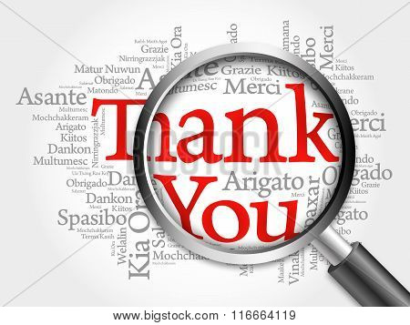 Thank You in all languages Word Cloud with magnifying glass background concept