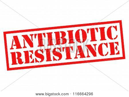 ANTIBIOTIC RESISTANCE red Rubber Stamp over a white background.