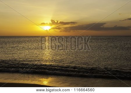 Beach With Color Of The Sunset In Twilight