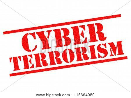 CYBER TERRORISM red Rubber Stamp over a white background.