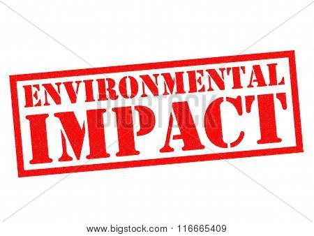 ENVIRONMENTAL IMPACT red Rubber Stamp over a white background.