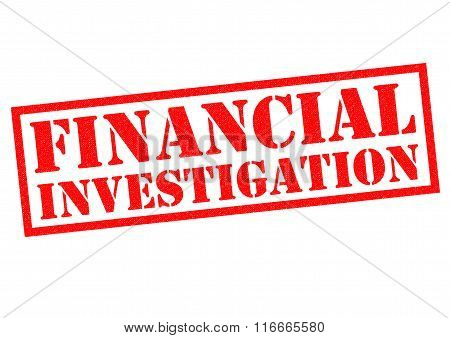 FINANCIAL INVESTIGATION red Rubber Stamp over a white background.