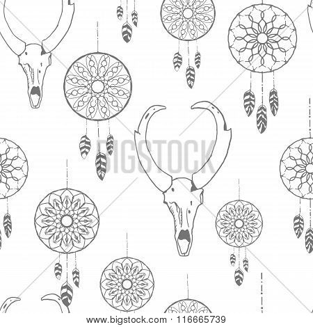 Seamless pattern with hand drawn dreamcatchers and antelope skull