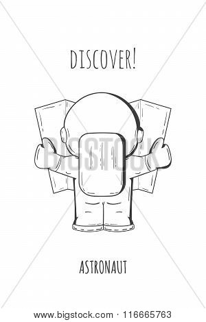 Hand Drawn Cartoon Astronaut In Spacesuit Back View. Line Art Cosmic Vector Illustration Astronaut L