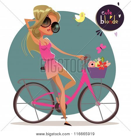 cute cartoon blonde girl on the bycicle