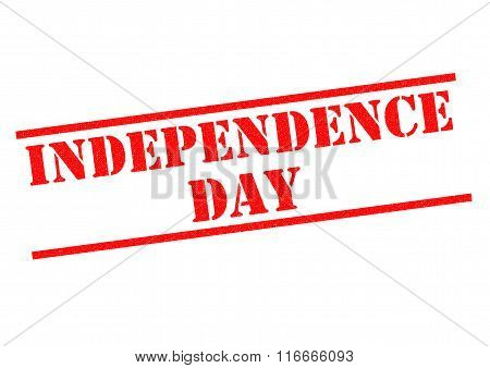 INDEPENDENCE DAY red Rubber Stamp over a white background.