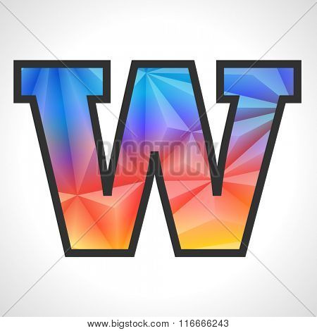 Vector Geometric Gradient Design Triangular Polygonal Font. Children style Letter W
