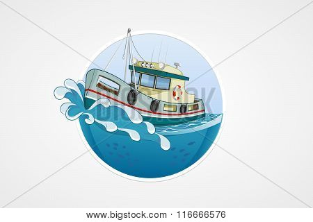 Moving Fishing Boat. Deep Sea With Wave. Round Vector Computer Icons For Applications Or Games. Logo