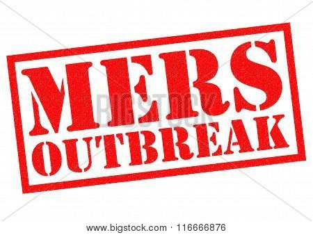 MERS OUTBREAK red Rubber Stamp over a white background.