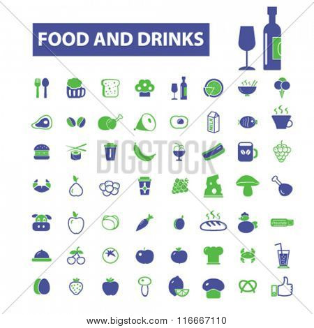 food, drinks, grocery  icons, signs vector concept set for infographics, mobile, website, application