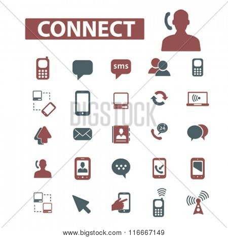 connect,  talking,  business communication,  communication concept, communication, connection, technology, mobile  icons, signs vector concept set