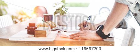 Man Signing Contract Application Form Concept