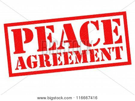 PEACE AGREEMENT red Rubber Stamp over a white background.