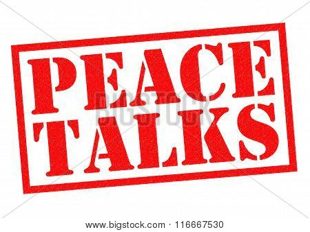 PEACE TALKS red Rubber Stamp over a white background.
