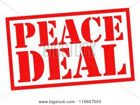 PEACE DEAL red Rubber Stamp over a white background.