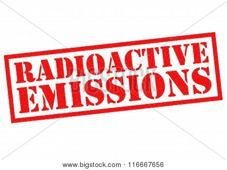 RADIOACTIVE EMISSIONS red Rubber Stamp over a white background.